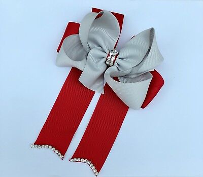 5inch Rhinestone Center Boutique Cheer Bow Hair Clip(Red & Grey)