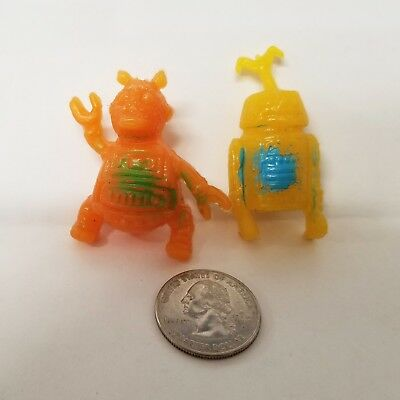 Vintage RUBBER JIGGLERS Space-theme Pencil Toppers - ALIEN & ROBOT - Lot of 2