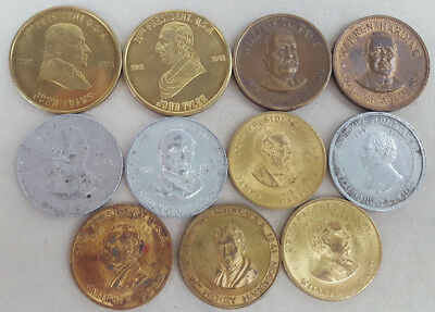 Mixed lot of 11 Commemorative U.S. Presidential Tokens Coins Tyler Adams Etc