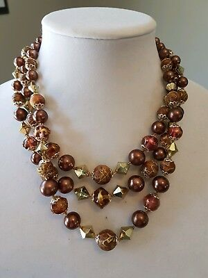 Signed Japan vintage triple strand brown and gold beaded necklace