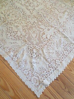 ANTIQUE Lace Tablecloth DINNER CLOTH Tablecloth Lace 40 x 50""