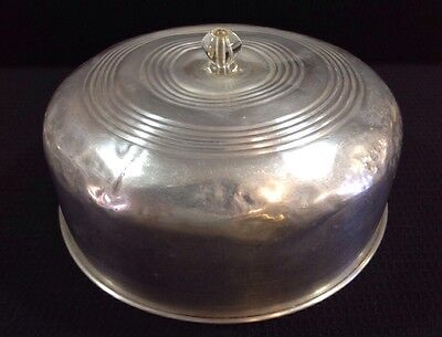 Vintage Old Dented Aluminum Cake Cover Lid W/ Jewel Shaped Knob Theatrical Prop