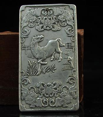Old china hand-made copper-plating silver Zodiac  horse waist tag joke a01