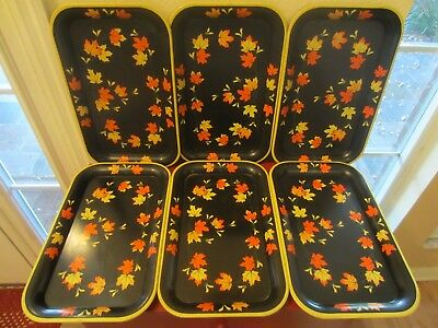 Set Of 6 Vintage Metal Lap TV Trays Black With Orange, Yellow and Gold Leaves