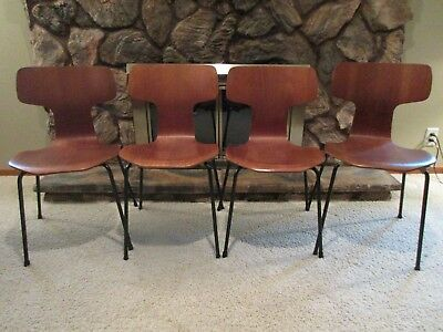 Vtg 1960's Authentic Arne Jacobsen T- Chairs/Hammer Designed For Fritz Hansen