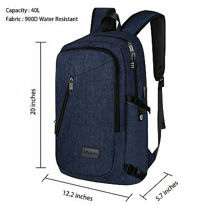 Mancro Business Water Resistant Polyester Laptop Backpack with USB Charging Blue
