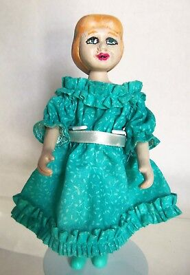 Very Poorly Painted 6.5 Doll by Robert Raikes for Parts or redo, tagged dress