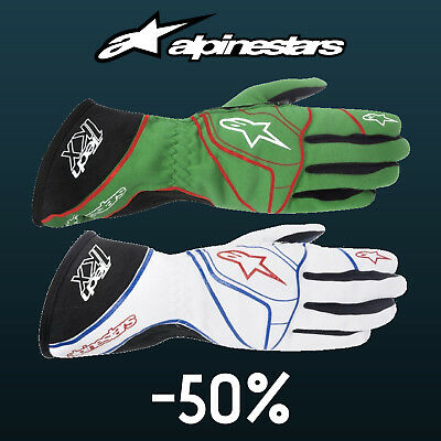 ALPINESTARS TECH 1-KX Karting Gloves Green, White kart race CLEARANCE SALE!
