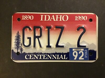 GRIZ 2= 1992 Idaho VANITY Motorcycle License Plate Pre-Owned  FREE US SHIPPING,