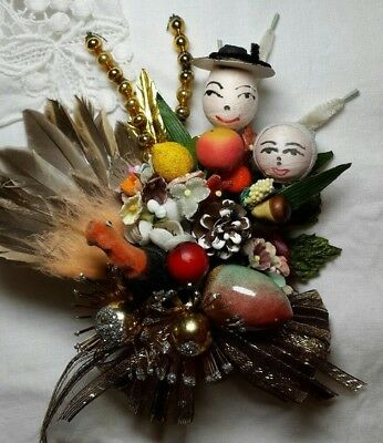 Vintage Handmade Thanksgiving Corsage Spun Cotton Pilgrim Turkey Millinery Glass