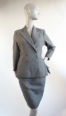 VTG 1980's Azzedine Alaia Gray Sharkskin Skirt Suit
