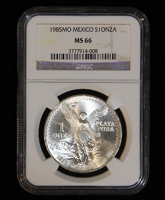 NGC MS-66 1985 Mexican 1 Onza/Libertad White .999 Pure 1 Ounce Bullion Mexico
