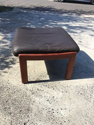 Tessa T21 Foot stool finished in brown leather