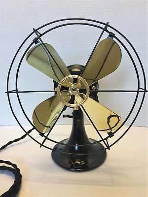 vintage antique1919 GE 9 in Whiz Fan Electric  W Brass Blades & All cast iron