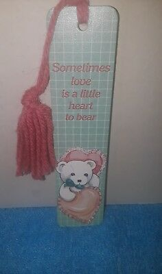 "Vintage Antioch Bearly Yours 1985 Teddy Bear ""Heart To Bear"" Bookmark Pink Mint"