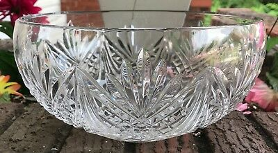 """Beautiful Signed Waterford Crystal Bowl 9"""" Round 5"""" Tall Never Used"""