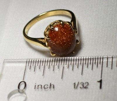 10K SOLID GOLD Antique Victorian Goldstone Vintage Ring Free Shipping size 6