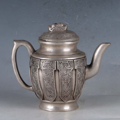 Exquisite Chinese Tibetan Silver Handwork Carved Ancient Patterns Teapots