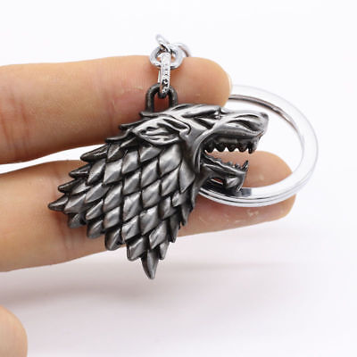 HBO Game of Thrones House Stark Head 3D Metal Keyring Keychain Silver Color NEW