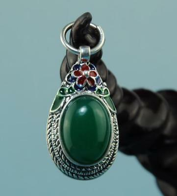Chinese hand-made silver inlay jade Cloisonne Flower pendant 02