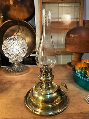 Antique Vintage English Brass Bedside Chamber Kerosene Oil Lamp
