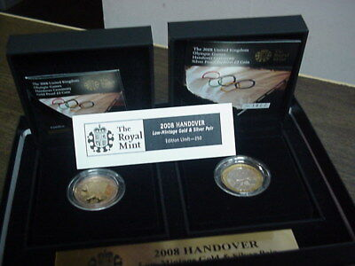2008 London Handover To Beijing Silver/Gold Olympic Proof Coin Set W/ Box & COA