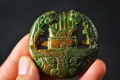 Exquisite Chinese old jade Carved *Dragon/Beast face* Lucky Pendant   F32