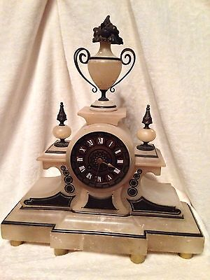 "Antique White Alabaster Bronze French Mantel Clock 1880 Open Face CJ&Co 16"" Tall"