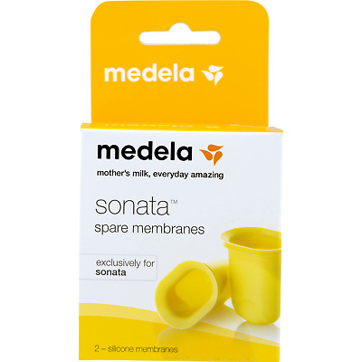 Medela Sonata Spare Membranes Yellow 2 Pack Model 68055 NEW SEALED BOX Authentic