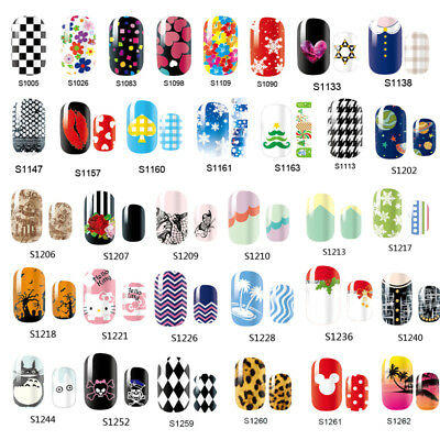 14 Tips Full Cover Nail Sticker Decals Polish Wraps Foils Manicure Decoration