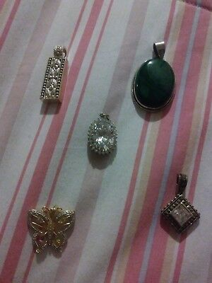 Sterling Silver lot of 5 pendants five pendant vintage retro 925 over 40 grams!!