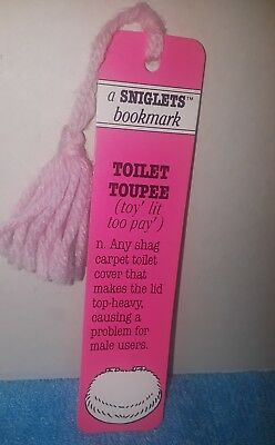 Vintage Antioch Sniglets Toilet Tupee Pink Bookmark 1984 Words That Should Be