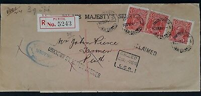 Rare 1925 Australia Unclaimed OHMS Cover ties 3 X 1 1/2d KGV stamp OS Perf Perth