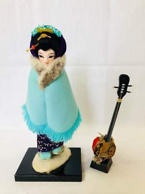 Antique Japanese doll shamisen Japan retro popular rare beautiful EMS F/S!