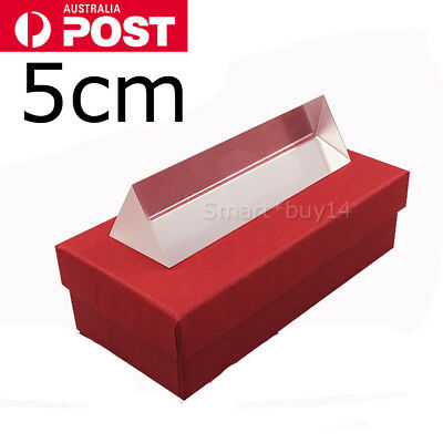5cm Optical Glass Triple Triangular Prism Physics Teaching Light Spectrum newly
