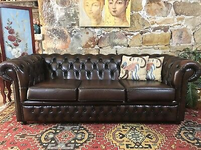 Vintage Chesterfield Leather Gasciogne 3 Seater Sofa~Lounge-Chair~1 of2 availabl