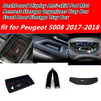 4PCS Dashboard Mat & Front Door Slot Storage Organizers For Peugeot 5008 17-18