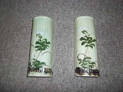 wall pockets pair china/ pottery flower design oriental feel