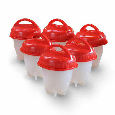 Egglettes Egg Cooker Hard Boiled Eggs Without the Shell Red Silicone Egg Cup AU