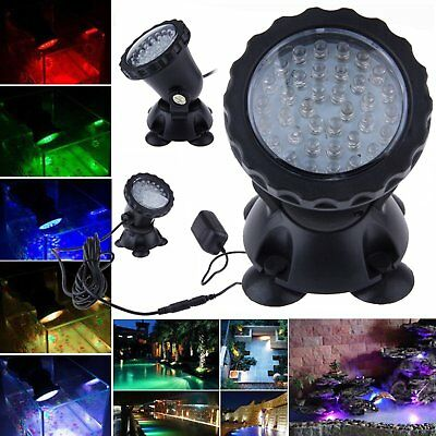 36 LED RGB Underwater Submersible Spot Light Aquarium Fountain Pond Tank Lamp UK