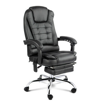 8 Point PU Leather Massage Office Computer Chair Recliner Retractable Footrest