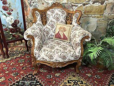 Vintage French Louis Wingback Chesterfield Lounge Chair Sofa~Armchair-Bergere