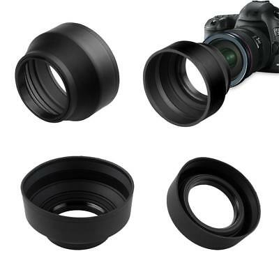 3 in 1 Collapsible Rubber Foldable Lens Hood DSIR Lens For Canon Nikon 49-77MM X