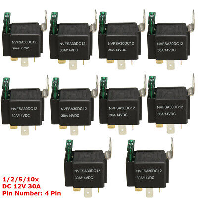 1/2/5/10pcs 30A AMP Fuse 12V DC 4 Pin Automotive Power Relay For Car Auto Truck