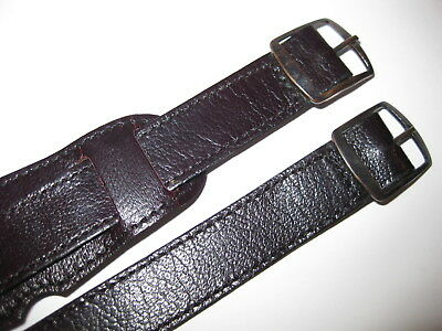 16mm LOT OF 2 NOS Leather Aviator Pilot Strap Vintage  60s 70s Men's Watch Band