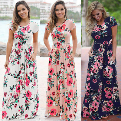 Women Sexy Long Sleeve Summer Fashion Style Party Dress Female Floral Maxi Dress