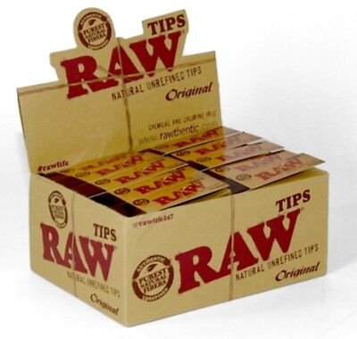 Raw Rolling Paper Tips Box of 50 packs- RAW ROACHES FULL BOX OF 50 BOOKLETS