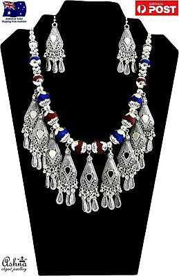 Indian Ethnic Navratri Jewellery Set Oxidised Silver Necklace With Earrings