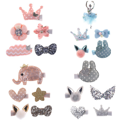 5pcs Kids Baby Girls Bow Hair Clips Lace Flower Barrette Pins Set Gift