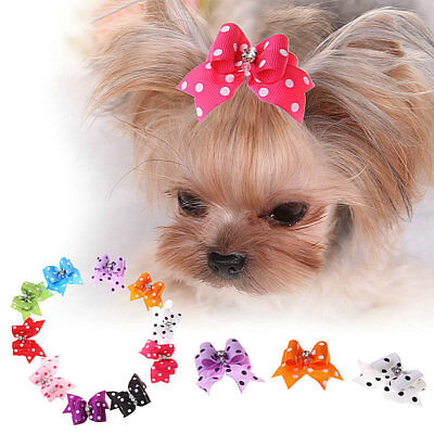 2Pcs Pet Dog Bows Accessories Dot Diamond Hair Bows Rubber Bands Grooming